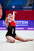 Agagulian Iasmina during qualifying at ball in Pesaro World Cup at Adriatic Arena on April 13, 2018. Iasmina is an Armenian rhythmic gymnastics athlete born in Yerevan in 2001.