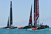 Defenders Emirates Team New Zealand skippered by Peter Burling vs challengers Oracle Team USA skippered by Jimmy Spithill during the 35th America's Cup 2017, Day 4, on June 25, 2017 in Hamilton, Bermuda - Photo Christophe Favreau / ProSportsImages / DPPI