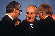 Veteran Tory grandee under Margaret Thatcher's premiership, Willie Whitelaw and British Prime Minister, John Major at the Conservative party conference on 11th October 1991 in Blackpool, England.