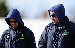 Glamorgan's Coaches David Harrison and Robert Croft - Photo mandatory by-line: Harry Trump/JMP - Mobile: 07966 386802 - 24/03/15 - SPORT - CRICKET - Pre Season Fixture - Day 2 - Somerset v Glamorgan - Taunton Vale Cricket Club, Somerset, England.