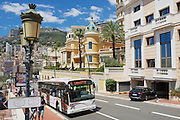 MONACO, MONACO - JULY 17, 2015: Public transportation bus passes by the street in Monaco, Monaco.