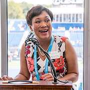 August 24, 2016, New Haven, Connecticut: <br /> New Haven Mayor Toni Harp speaks at the Mayor's Women's Legislators Luncheon during Day 6 of the 2016 Connecticut Open at the Yale University Tennis Center on Wednesday, August  24, 2016 in New Haven, Connecticut. <br /> (Photo by Billie Weiss/Connecticut Open)