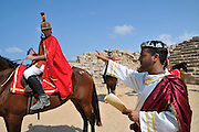 Israel, coastal plains, Caesarea, The Hippodrome built by king Herod first century BCE. Re-enactment of life in the Roman era. Horse racing, sport events and entertainment show reconstruction during Sukkot, October 7, 2009,