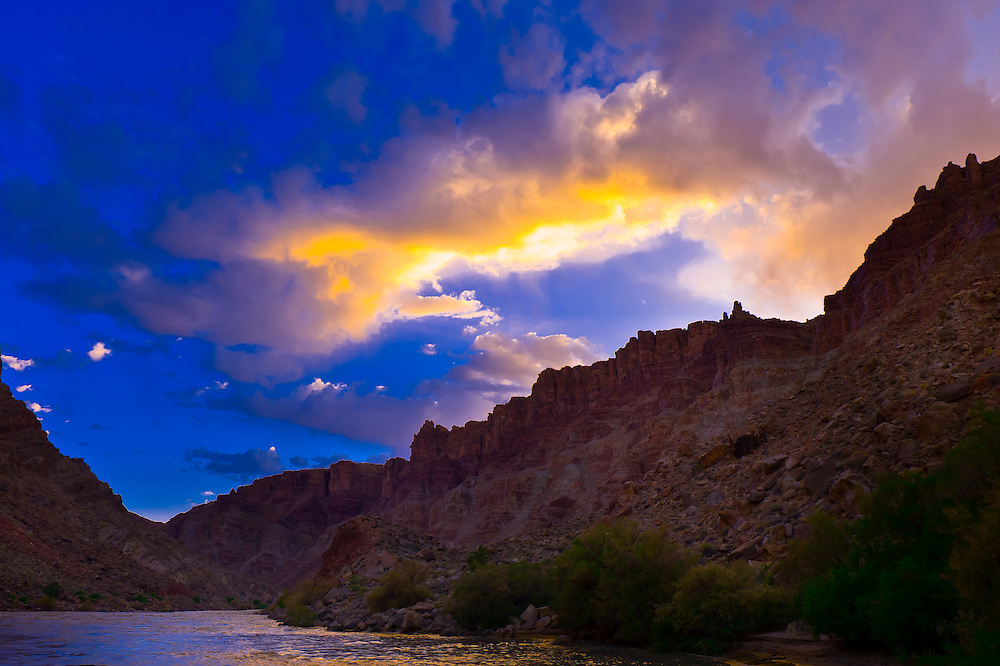 Canyon walls near Rapid 5 in Cataract Canyon, the Colorado River in Canyonlands National Park, Utah, USA.
