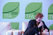 """Petra Meekers, Director of CSR and Sustainable Management at Musim Mas Holdings, speaks during a knowledge exchange session on the topic """"Assessing and addressing forest fire propagation in Indonesia: The root causes, impact and solutions"""", at the General Assembly of the Tropical Forest Alliance 2020 in Jakarta, Indonesia, on March 11, 2016. <br /> (Photo: Rodrigo Ordonez)"""