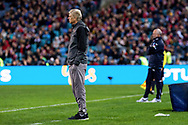 July 13 2017: Arsenal manager Arsene Wenger and Sydney FC coach Graham Arnold at the International soccer match between English Premier League giants Arsenal and A-League premiers Sydney FC at ANZ Stadium in Sydney.