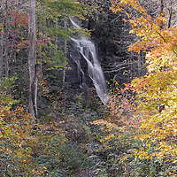 Estatoe Falls near Rosman, North Carolina, dressed up in the beautiful colors of fall.