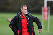 Wales coach Robert Howley looks on. Wales rugby team training at the Vale resort, Hensol, near Cardiff in South Wales on Thursday 8th November 2012. the team are training ahead of the autumn international series opener against Argentina on the weekend. pic by Andrew Orchard, Andrew Orchard sports photography,