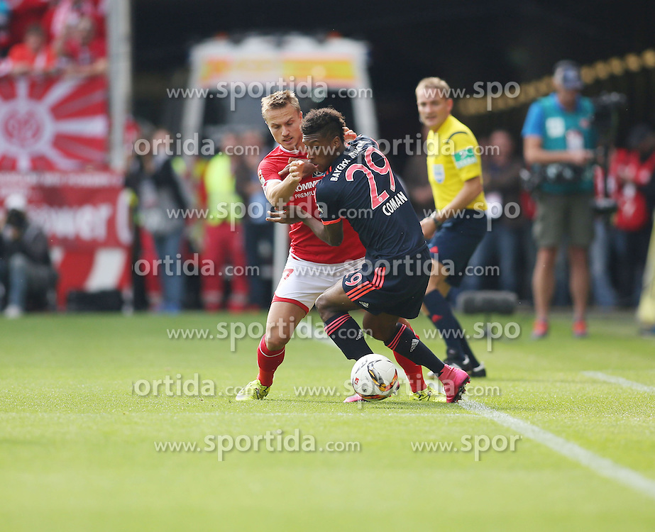 26.09.2015, Coface Arena, Mainz, GER, 1. FBL, 1. FSV Mainz 05 vs FC Bayern Muenchen, 7. Runde, im Bild Pierre Bengtsson (FSV Mainz 05 #7) im Zweikampf gegen Kingsley Coman (FC Bayern Muenche #27) // during the German Bundesliga 7th round match between 1. FSV Mainz 05 and FC Bayern Munich at the Coface Arena in Mainz, Germany on 2015/09/26. EXPA Pictures &copy; 2015, PhotoCredit: EXPA/ Eibner-Pressefoto/ Sch&uuml;ler<br /> <br /> *****ATTENTION - OUT of GER*****