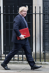 © Licensed to London News Pictures. 28/02/2017. LONDON, UK.  Secretary of State for Foreign and Commonwealth Affairs, Boris Johnson  arrives for a cabinet meeting at 10 Downing Street.  Photo credit: Vickie Flores/LNP