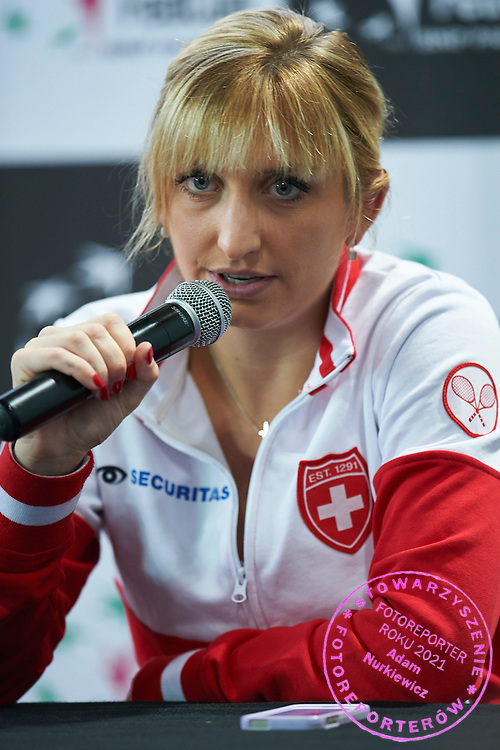 Timea Bacsinszky from Switzerland while press conference after her winning game during the Fed Cup / World Group Play Off tennis match between Poland and Switzerland on April 18, 2015 in Zielona Gora, Poland<br /> Poland, Zielona Gora, April 18, 2015<br /> <br /> Picture also available in RAW (NEF) or TIFF format on special request.<br /> <br /> For editorial use only. Any commercial or promotional use requires permission.<br /> <br /> Adam Nurkiewicz declares that he has no rights to the image of people at the photographs of his authorship.<br /> <br /> Mandatory credit:<br /> Photo by &copy; Adam Nurkiewicz / Mediasport