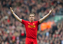 07.04.2013, Anfield, Liverpool, ENG, Premier League, FC Liverpool vs West Ham United, 32. Runde, im Bild Liverpool's Jordan Henderson in action against West Ham United during during the English Premier League 32th round match between Liverpool FC and West Ham United FC at Anfield, Liverpool, Great Britain on 2013/04/07. EXPA Pictures © 2013, PhotoCredit: EXPA/ Propagandaphoto/ David Rawcliffe..***** ATTENTION - OUT OF ENG, GBR, UK *****