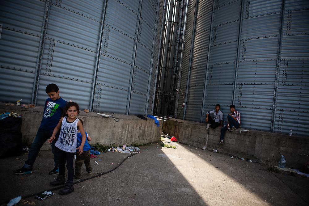 Rund 2500 Menschen campieren auf dem Gelände um die Bahnstation in Tovarnik, Kroatien. Sie hoffen, per Bus nach Österreich zu gelangen, nachdem Ungarn die Grenze zu Serbien geschlossen hat.