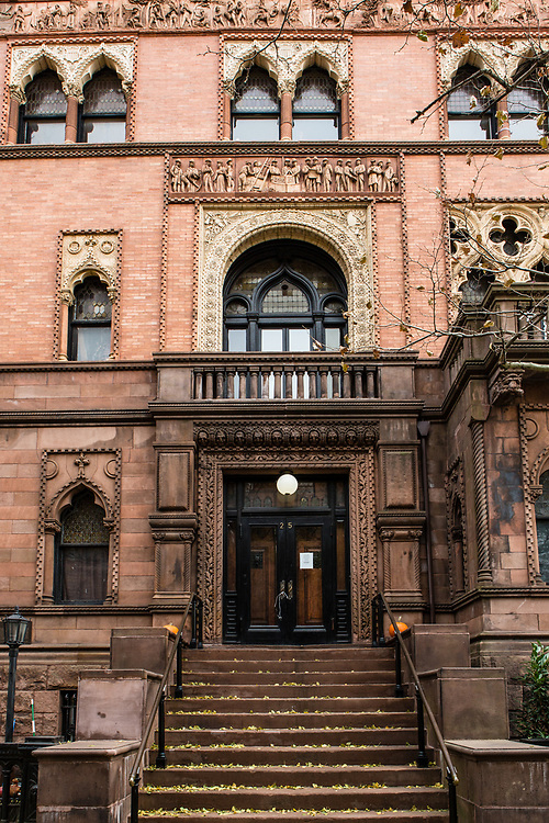 The entrance to theMontauk Club, at the corner of 8th Avenue and Lincoln Place, on what was once known as Brooklyn's Sportsmen's Row, designed by Francis H. Kimball after Venice's Ca' d'Oro. The frieze above the third story depicts the exploits of the Montauk Indians.