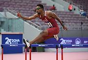 Abderrahman Samba (QAT) wins the 400m hurdles in 47.51 during the Asian Athletics Championships in Doha, Qatar, Saturday, April,21, 2019. (Jiro Mochizuki/Image of Sport)