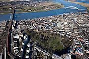 Nederland, Gelderland, Nijmegen, 07-03-2010; Nijmegen, binnenstad met Kronenburgpark,  vlnr spoorbrug over rivier de Waal, Waalkade en Waalbrug. .Nijmegen, inner city..luchtfoto (toeslag), aerial photo (additional fee required).foto/photo Siebe Swart