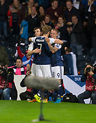 4th September 2017, Hampden Park, Glasgow, Scotland; World Cup Qualification, Group F; Scotland versus Malta; Scotland's Leigh Griffiths is congratulated by Andy Robertson and  Stuart Armstrong after scoring for 2-0