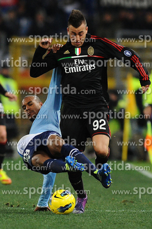 01.02.2012, Olympiastadion, Rom, ITA, Serie A, Lazio Rom vs AC Milan, 21. Spieltag, im Bild Staphan El Shaarawy (Milan) Abdoulay Konko (Lazio) // during the football match of Italian 'Serie A' league, 21th round, between Lazio Rom and AC Milan at Olympic Stadium, Rome, Italy on 2012/02/01. EXPA Pictures © 2012, PhotoCredit: EXPA/ Insidefoto/ Antonietta Baldassarre..***** ATTENTION - for AUT, SLO, CRO, SRB, SUI and SWE only *****