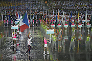 16.08.2014. Nanjing, China. The flag bearer of Equatorial Guinea delegation parades into the stadium during the opening ceremony of Nanjing 2014 Youth Olympic Games in Nanjing, capital of east China s Jiangsu Province