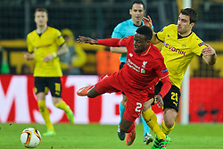 DORTMUND, GERMANY - Thursday, April 7, 2016: Liverpool's Divock Origi is fouled by Borussia Dortmund's Sokratis Papastathopoulos during the UEFA Europa League Quarter-Final 1st Leg match at Westfalenstadion. (Pic by David Rawcliffe/Propaganda)