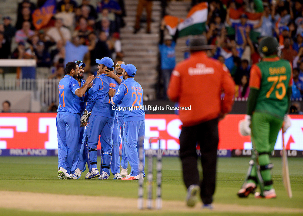 MD Shami (Ind) gets the wicket of Soumya Sarkar  (Bang)<br /> India vs Bangladesh / Qtr Final 2<br /> 2015 ICC Cricket World Cup<br /> MCG / Melbourne Cricket Ground <br /> Melbourne Victoria Australia<br /> Thursday 19 March 2015<br /> &copy; Sport the library / Jeff Crow