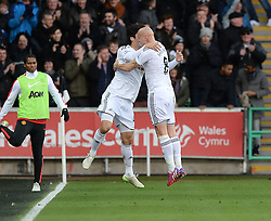Swansea City's Ki Sung-Yueng celebrates his goal with Swansea City's Jonjo Shelvey- Photo mandatory by-line: Alex James/JMP - Mobile: 07966 386802 - 21/02/2015 - SPORT - Football - Swansea - Liberty Stadium - Swansea City v Manchester United - Barclays Premier League