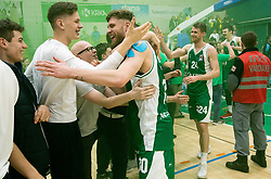 Dominik Mavra of Krka and fans celebrate after winning during basketball match between KK Krka and KK Petrol Olimpija in 22nd Round of ABA League 2018/19, on March 17, 2019, in Arena Leon Stukelj, Novo mesto, Slovenia. Photo by Vid Ponikvar / Sportida