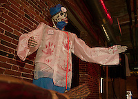 """Dr Death"" will cure what ails you as you walk through ""Mayhem at the Mill"" at the Belknap Mill starting Friday evening.  (Karen Bobotas/for the Laconia Daily Sun)"
