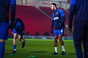 AFC Wimbledon defender Terell Thomas (6) warming up during the The FA Cup match between Doncaster Rovers and AFC Wimbledon at the Keepmoat Stadium, Doncaster, England on 19 November 2019.