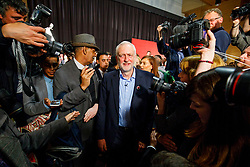 © Licensed to London News Pictures. 29/04/2017. London, UK. Labour leader JEREMY CORBYN leaves after delivering a speech at London Metropolitan University in London on 29 April 2017. Photo credit: Tolga Akmen/LNP