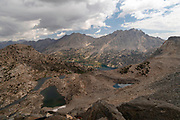 High angle view of Rae Lakes from Glen Pass,  John Muir Trail/Pacific Crest Trail; Sequoia Kings Canyon Wilderness; Kings Canyon National Park; Sierra Nevada Mountains, California, USA.