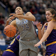 HARTFORD, CONNECTICUT- JANUARY 4: Napheesa Collier #24 of the Connecticut Huskies is defended by Kristen Gaffney #24 of the East Carolina Lady Pirates during the UConn Huskies Vs East Carolina Pirates, NCAA Women's Basketball game on January 4th, 2017 at the XL Center, Hartford, Connecticut. (Photo by Tim Clayton/Corbis via Getty Images)