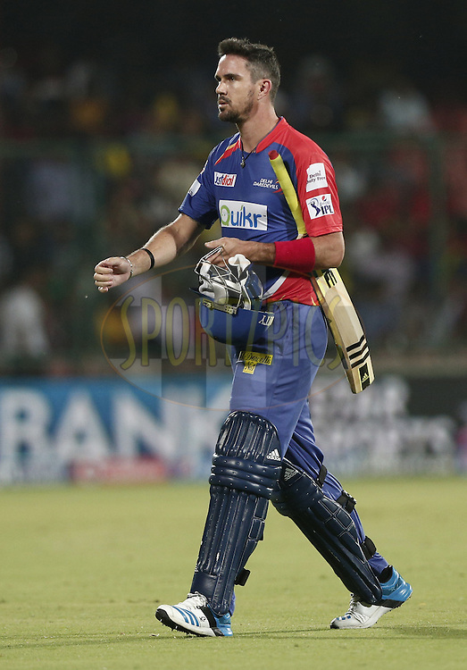 Kevin Pietersen captain of of the Delhi Daredevils walk back to pavilion after bowled by Mohit Sharma of The Chennai Superkings during match 26 of the Pepsi Indian Premier League Season 2014 between the Delhi Daredevils and the Chennai Superkings held at the Ferozeshah Kotla cricket stadium, Delhi, India on the 5th May  2014<br /> <br /> Photo by Deepak Malik / IPL / SPORTZPICS<br /> <br /> <br /> <br /> Image use subject to terms and conditions which can be found here:  http://sportzpics.photoshelter.com/gallery/Pepsi-IPL-Image-terms-and-conditions/G00004VW1IVJ.gB0/C0000TScjhBM6ikg