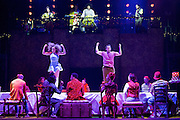 The Mad Hatter's Tea Party <br /> by Zoo Nation<br /> directed by Kate Prince<br /> presented by Zoo Nation, The Roundhouse & The Royal Opera House<br /> at The Roundhouse, London, Great Britain <br /> rehearsal <br /> 29th December 2016 <br /> <br /> Tommy Franzen as Ernest <br /> <br /> Kayla Lomas-Kirton as Alice <br /> <br /> <br /> Photograph by Elliott Franks <br /> Image licensed to Elliott Franks Photography Services