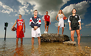 CAPTION: (Hudson 02/03/2008) (photo#1) (IMAGING NOTE: PLEASE PRESERVE SATURATION AND CONTRAST CREATED BY LIGHTING, thanks) These are the Times' North Suncoast winter sports athletes of the year. From left to right, Ridgewood's Lukas Poderis (boys basketball player of the year), Springstead's Schuyler Swanton (wrestling), Pasco's Jose Montelongo (boys soccer), Land O'Lakes' Kayli Keough (girls basketball) and River Ridge's Deana Rossi (girls soccer). BRENDAN FITTERER | Times SUMMARY: This is a portrait shot -- on the beach -- of our local prep athletes of the year in our five winter sports.