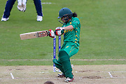 Pakistan womens cricket player Javeria Wadood cuts the ball during the ICC Women's World Cup match between England and Pakistan at the Fischer County Ground, Grace Road, Leicester, United Kingdom on 27 June 2017. Photo by Simon Davies.