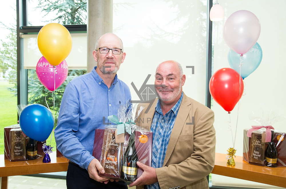 30.09.2016       <br /> University of Limerick ITD Retirement Gathering, Millstream Common room. <br /> Declan Maguire makes a presentation to retiree, Michael O'Callaghan. Picture: Alan Place