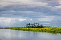 Storm clouds gather over a coastal salt marsh in Georgia.