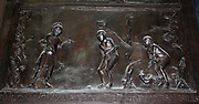 Detail from Bronze doors with scenes from the Old and New Testament in relief. Made at the order of St. Bernward, and set up by him in 1015 at St. Michael's Church, Hildesheim. They were since taken to the cathedral by his successor. This panel shows The Expulsion.