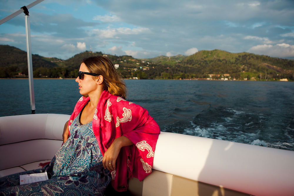 Writer Antonia Windsor on Lake Kivu