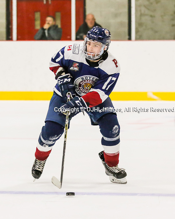 PICKERING, ON  - SEP 21,  2017: Ontario Junior Hockey League game between the Pickering Panthers and the Wellington Dukes, Joseph Franzin #17 of the Pickering Panthers skates with the puck during the third period.<br /> (Photo by Ray MacAloney / OJHL Images)