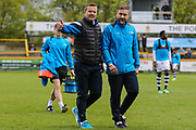 Forest Green Rovers manager, Mark Cooper and Forest Green Rovers assistant manager, Scott Lindsey during the Vanarama National League match between Southport and Forest Green Rovers at the Merseyrail Community Stadium, Southport, United Kingdom on 17 April 2017. Photo by Shane Healey.