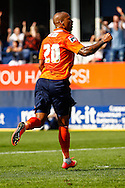Ross Lafayette of Luton Town celebrates scoring his team's third goal to make it 3-0 during the Pre Season Friendly match at Kenilworth Road, Luton<br /> Picture by David Horn/Focus Images Ltd +44 7545 970036<br /> 26/07/2014