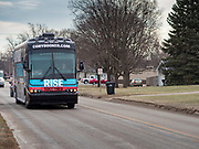 20 DECEMBER 2019 - ADEL, IOWA: US Senator Cory Booker's campaign bus rolls through Adel, IA, about 20 miles west of Des Moines. Sen Booker is on a bus tour across Iowa to support his candidacy for the US Presidency. Iowa traditionally holds the first event of the presidential election cycle. The Iowa caucuses are Feb. 3, 2020. Sen Booker is on a bus tour across Iowa to support his candidacy for the US Presidency. Iowa traditionally holds the first event of the presidential election cycle. The Iowa caucuses at Feb. 3, 2020.       PHOTO BY JACK KURTZ