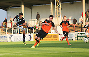 Dundee's Dylan Carreiro fires in a shot - Dundee v Dundee United, SPFL Development League at Gayfield, Arbroath<br /> <br />  - &copy; David Young - www.davidyoungphoto.co.uk - email: davidyoungphoto@gmail.com