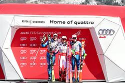 19.03.2017, Aspen, USA, FIS Weltcup Ski Alpin, Finale 2017, Gesamtweltcup, Herren, Siegerehrung, im Bild v.l. Kjetil Jansrud (NOR, zweiter Platz Gesamt Weltcup), Marcel Hirscher (AUT, Slalom Riesenslalom und Gesamt Weltcup Sieger), Henrik Kristoffersen (NOR, zweiter Platz slalom- und dritter Platz gesamt Weltcup) // f.l. second placed ovrall world cup Kjetil Jansrud of Norway, Winner of Slalom Giant Slalom and Overall World Cup Marcel Hirscher of Austria, third placed Overall world Cup Henrik Kristoffersen of Norway during the winner award ceremony for the mens's Overall winner of 2017 FIS ski alpine world cup finals. Aspen, United Staates on 2017/03/19. EXPA Pictures © 2017, PhotoCredit: EXPA/ Erich Spiess