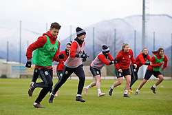 ZENICA, BOSNIA AND HERZEGOVINA - Monday, November 27, 2017: Wales' Grace Horrell and captain Sophie Ingle during a training session ahead of the FIFA Women's World Cup 2019 Qualifying Round Group 1 match against Bosnia and Herzegovina at the FF BH Football Training Centre. (Pic by David Rawcliffe/Propaganda)