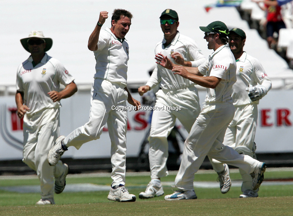 Dale Steyn celebrates bowling Jonathan Trott during the 5th day of the third test match between South Africa and England held at Newlands Cricket Ground in Cape Town on the 7h January 2010.Photo by: Ron Gaunt/ SPORTZPICS