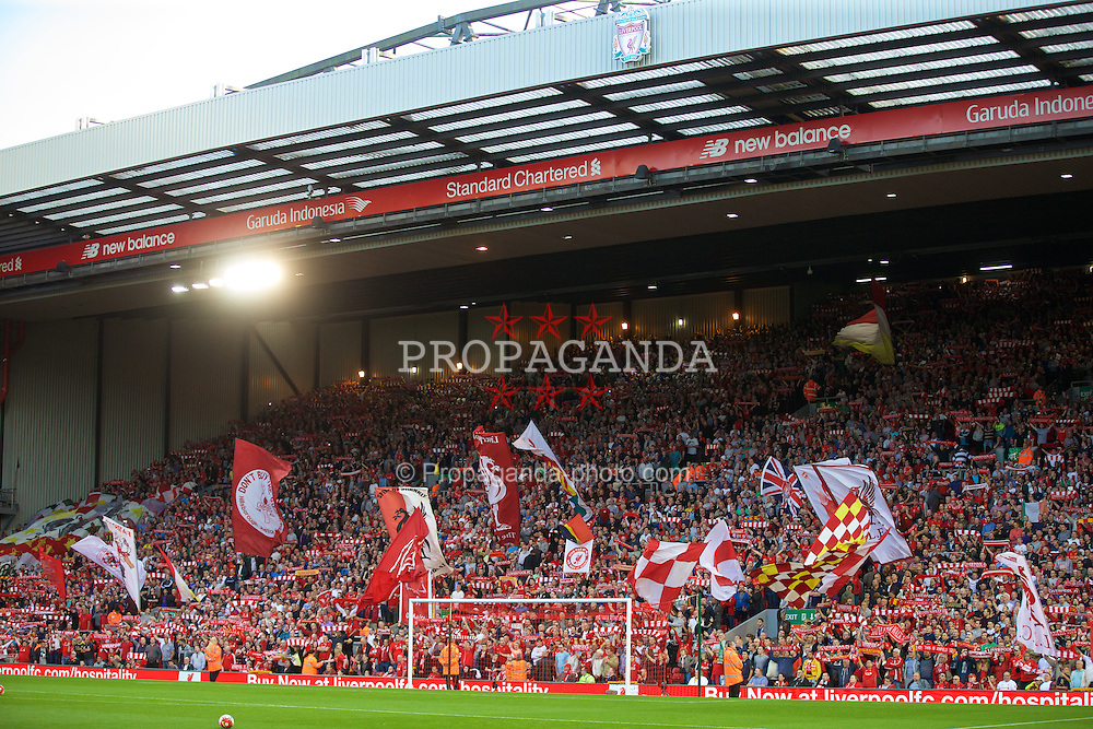 LIVERPOOL, ENGLAND - Monday, August 17, 2015: Liverpool supporters on the Spion Kop before the Premier League match against AFC Bournemouth at Anfield. (Pic by David Rawcliffe/Propaganda)