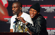 Floyd Mayweather Jnr and his trainer Roger Mayweather speak with the media. Floyd Mayweather v Juan Manuel Marquez press conference at the MGM Grand to announce the comeback of Floyd Mayweather Jnr on July 18th 2009.